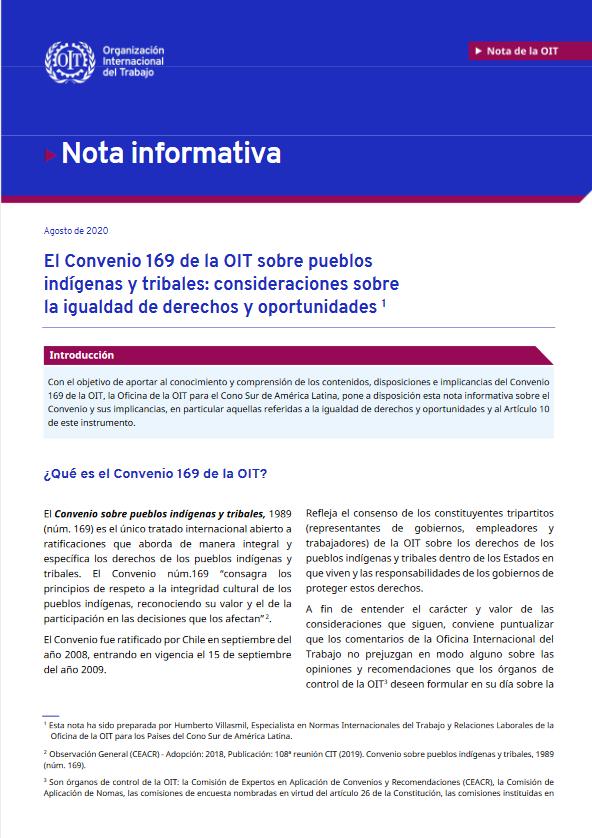 El Convenio 169 de la OIT sobre pueblos indígenas y tribales: consideraciones sobre la igualdad de derechos y oportunidades